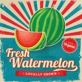 Buntes Weinlese Wassermelonen-Aufkleberplakat Stockfotos