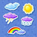 Buntes Wetterikonenset Lizenzfreie Stockfotos