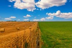 Buntes Wiesen- und Strohfeld mit blauem bewölktem Himmel Bild mit grünem Gras, gelbes goldenes Stroh in den Dritteln mit dem blau Lizenzfreie Stockbilder