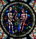 Buntglas - Adam und Eve Stockbild