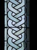 Buntglas bei Mont Saint Michel Abbey, Frankreich Stockfotos
