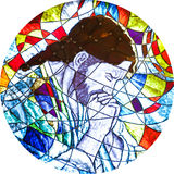 Buntglas, das Jesusbeten zeigt Stockfotos