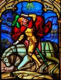 Buntglas in der Kathedrale von Bayeux Lizenzfreies Stockbild
