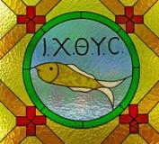 Buntglas in der Kirche Stockfoto