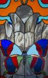 Buntglas - ein Schmetterling 3 Stockfotos