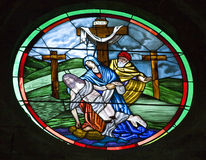 Buntglas-Erzengel-Kirche San Miguel Mexic Lizenzfreies Stockfoto