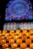 Buntglas-Fenster innerhalb der Notre- Damekathedrale Lizenzfreie Stockbilder