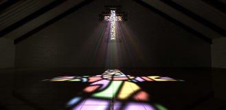 Buntglas-Fenster-Kruzifix-Licht Ray Color Lizenzfreie Stockfotos