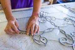 Buntglas-Handwerker Stockfotos