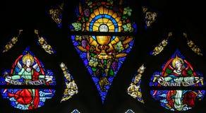 Buntglas - heiliges Abendmahl und Heiliges Gral lizenzfreie stockbilder