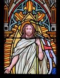Buntglas - Jesus, der vom Grab steigt Stockbild