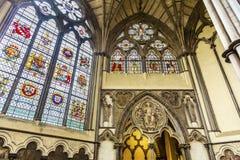 Buntglas-Kapitelsaal Westminster Abbey London England Lizenzfreie Stockbilder