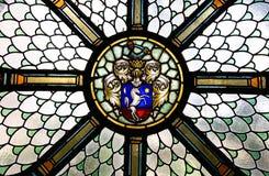 Buntglas mit Einhorn Stockfoto