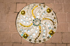 Buntglasboden im thailändischen Tempel, Muster Lizenzfreie Stockfotos