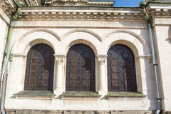 Buntglasfenster der Kathedrale von St. Alexander Nevsky Cathedral in Sofia, Bulgarien Lizenzfreies Stockfoto