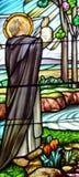 Buntglasfenster der Stadtkathedrale unserer Dame des heiligen Rosenbeetes Stockfoto
