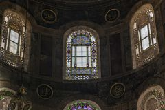 Buntglasfenster des Hagia Sophia, Istanbul stockbild