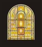 Buntglasfenster für ein halbkreisförmiges Fenster Lizenzfreie Stockfotografie
