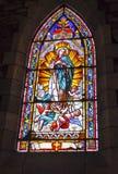 Buntglasfenster innerhalb der Kirche unserer Dame von Nahuel Huapi Stockfotos