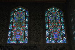 Buntglasfenster in Topkapi-Palast in Istanbul Stockfoto