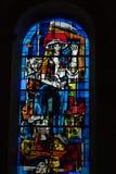 Buntglasfenster von Heilig-Gatien-Kathedrale in Blois Stockbild