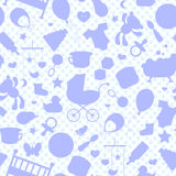 Buntglasillustration auf dem Thema der Kindheit und neugeborene Babys, Babyzubehör, Zubehör und Spielwaren, die Entwürfe von Stock Abbildung