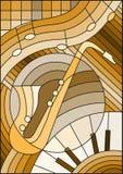 Buntglasillustration bezüglich der Musik, die Form eines abstrakten Saxophons auf geometrischem Hintergrund, brauner Ton stock abbildung