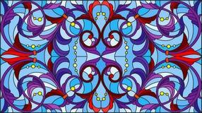 Buntglasillustration mit abstrakten Blumen, Blättern und Locken auf blauem Hintergrund, horizontale Orientierung vektor abbildung