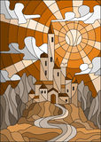 Buntglasillustration mit altem Schloss auf dem Hintergrund des Himmels, der Sonne und der Berge, brauner Ton, Sepia Stockbild