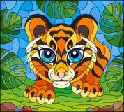 Buntglasillustration mit Babytiger auf der Jagd, Tier auf dem Hintergrund von tropischen Blättern stock abbildung
