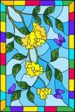 Buntglasillustration mit Blumen, Blättern der Gelbrose und purpurroten Schmetterlingen auf dem Himmelhintergrund in einem Rahmen Stockbild
