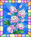 Buntglasillustration mit Blumen, den Knospen und den Blättern von Lotus Stockbild