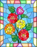 Buntglasillustration mit Blumen, den Knospen und den Blättern von Zinnias auf einem blauen Hintergrund Lizenzfreie Stockbilder