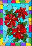 Buntglasillustration mit drei hellen roten Blumen der Petunie, der Knospen und der Blätter auf einem blauen Hintergrund in einem  Stockfoto