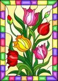 Buntglasillustration mit einem Blumenstrauß von Tulpen auf einem gelben Hintergrund im hellen Rahmen vektor abbildung