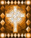 Buntglasillustration mit einem christlichen Kreuz, Rahmen, brauner Ton, Sepia lizenzfreie abbildung