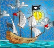 Buntglasillustration mit einem Piratenschiff in der Sonne, in einem bewölkten Himmel und im Ozean lizenzfreie abbildung