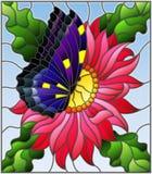 Buntglasillustration mit einer rosa Asterblume und einem hellen Schmetterling auf einem blauen Hintergrund Stockbild