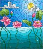 Buntglasillustration mit einer Wasserlandschaft, Lotus-Blumen vor dem hintergrund des Teichs, Himmel und Sonne Stockfotos