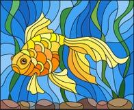 Buntglasillustration mit Goldfischen auf dem Hintergrund des Wassers und der Algen Lizenzfreies Stockfoto