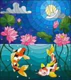 Buntglasillustration mit koi Fischen und Lotus-Blumen auf einem Hintergrund des sternenklaren Himmels und des Wassers