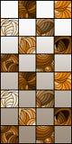 Buntglasillustration mit Quadraten vereinbarte in einem Schachbrettmuster, braunes Gamma, Sepia Lizenzfreie Stockbilder