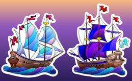 Buntglasillustration mit Satz Schiffen, Segelboote auf den Wellen lokalisiert auf Himmelhintergrund vektor abbildung