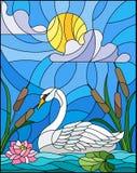 Buntglasillustration mit Schwan-, Lotus-Blumen und Schilfen auf einem Teich in der Sonne, im Himmel und in den Wolken