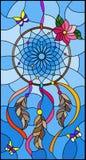 Buntglasillustration mit Traumfänger und Schmetterlingen auf Himmelhintergrund Lizenzfreie Stockbilder