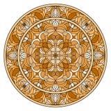 Buntglasillustration, rundes Spiegelbild mit Blumenverzierungen und Strudel, brauner Ton, Sepia Stockfoto