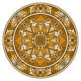 Buntglasillustration, rundes Spiegelbild mit Blumenverzierungen und Strudel, brauner Ton, Sepia Stockbild