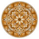 Buntglasillustration, rundes Spiegelbild mit Blumenverzierungen und Strudel, brauner Ton, Sepia Stockfotografie