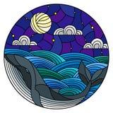 Buntglasillustrationswal in die Wellen, in den sternenklaren Himmel, in den Mond und in die Wolken, rundes Bild Stockfoto