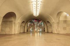 Buntglaskunst in der Metrostation in Moskau Lizenzfreies Stockfoto